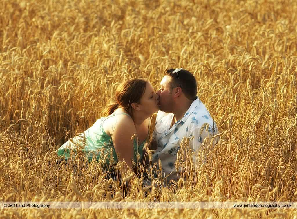 Wedding, Photographer, Stratford Upon Avon, Warwickshire, Kiss, Corn, Field, Pre-Wedding Shoot