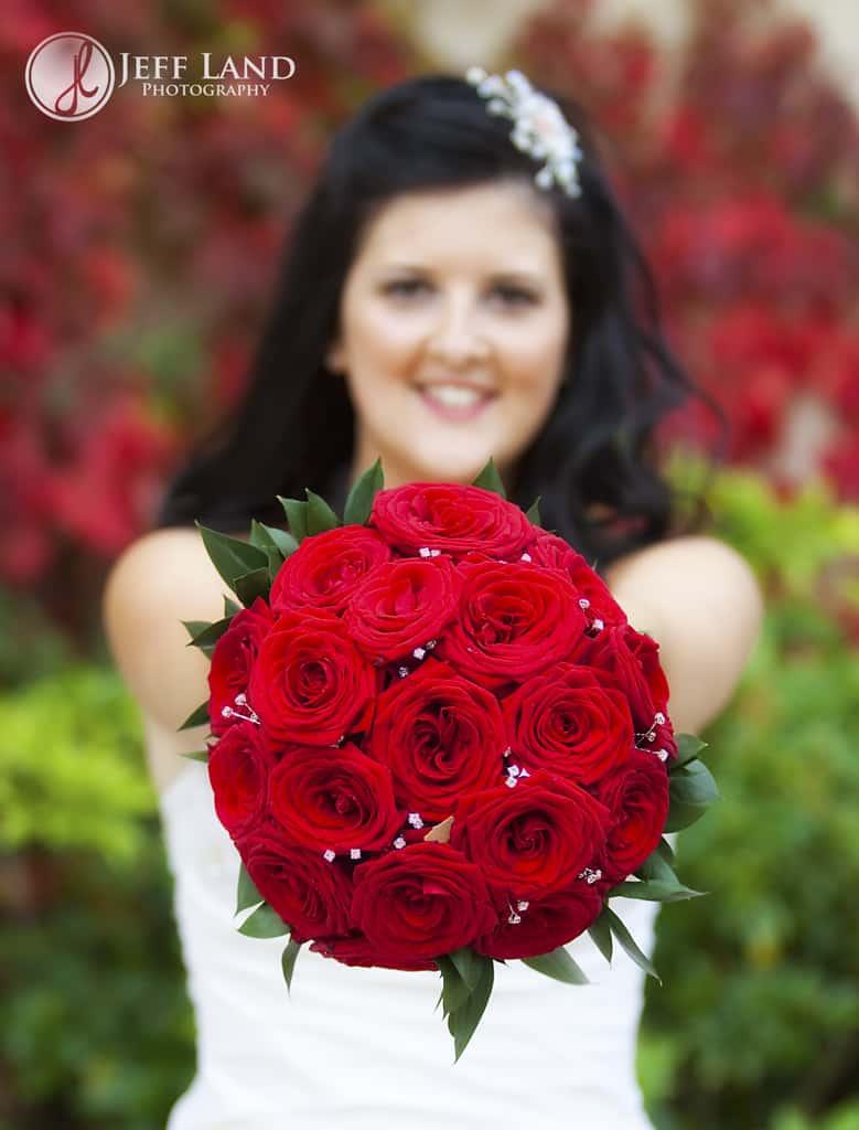 Wedding, Photographer, Stratford Upon Avon, Warwickshire, Ettington Park Hotel, Bride, Red Bouquet, Autumn, www.jefflandphotography.co.uk