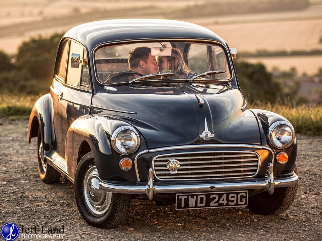 Pre-Wedding Shoot, Burton Dassett Hills, Warwickshire, Wedding Photography, Morris Minor