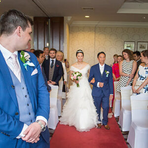 Welcombe Hotel, Wedding Photographer, Stratford-upon-Avon, Warwickshire, Chinese, Here comes the Bride, Ceremony, Bride & Groom