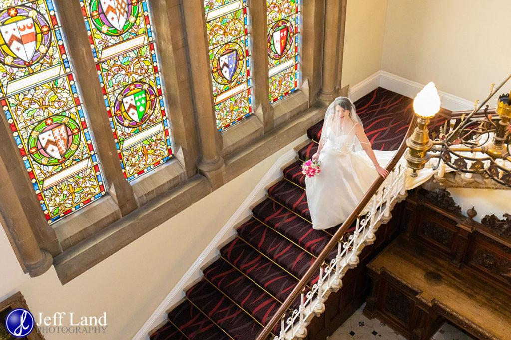 Bride on Staircase Walton Hall