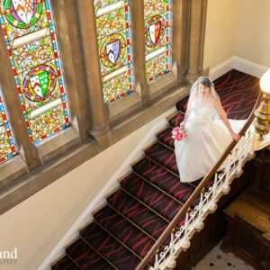 Bride on Staircase Walton Hall