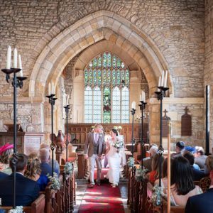 Walking Down the Isle, Wedding Photographer, Stratford upon Avon, The Bell, Alderminster, St. Mary's Church, Wimpstone