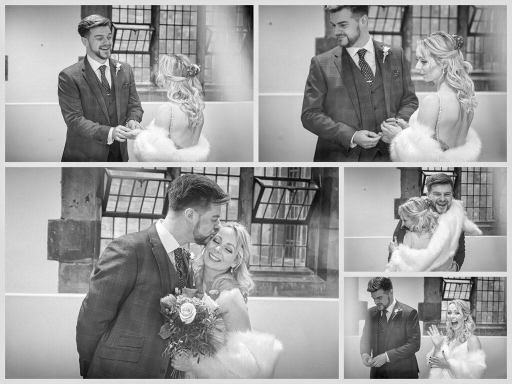 Black & White image taken during a wedding in the Henley Room Stratford upon Avon, Warwickshire