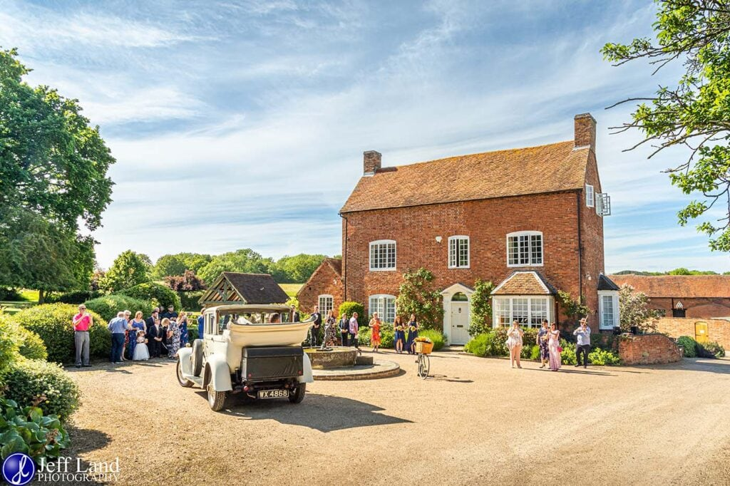 Wedding Photographer at Wethele Manor Leamington Spa Warwickshire Bride & Groom arrive