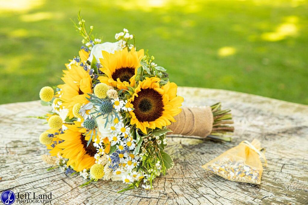 Wedding Photographer at Wethele Manor Leamington Spa Warwickshire Sunflower Bouquet