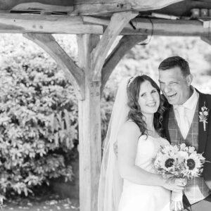 Wedding Photographer at Wethele Manor Leamington Spa Warwickshire Bride & Groom black & white