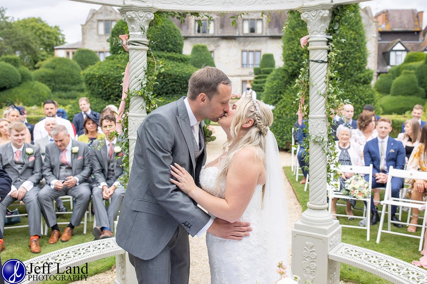 Billesley Manor Wedding First Kiss